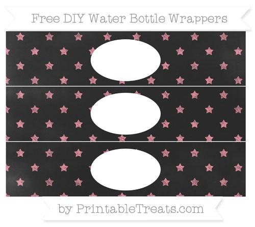 Free Salmon Pink Star Pattern Chalk Style DIY Water Bottle Wrappers