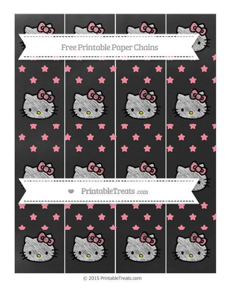 Free Salmon Pink Star Pattern Chalk Style Hello Kitty Paper Chains