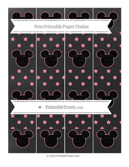 Free Salmon Pink Star Pattern Chalk Style Mickey Mouse Paper Chains