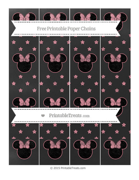 Free Salmon Pink Star Pattern Chalk Style Minnie Mouse Paper Chains