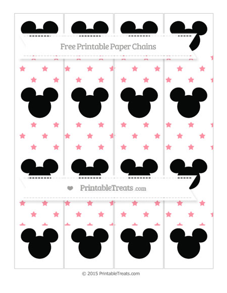 Free Salmon Pink Star Pattern Mickey Mouse Paper Chains
