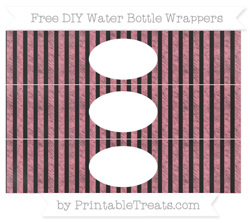 Free Salmon Pink Striped Chalk Style DIY Water Bottle Wrappers