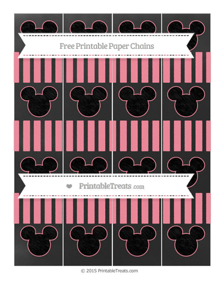 Free Salmon Pink Striped Chalk Style Mickey Mouse Paper Chains