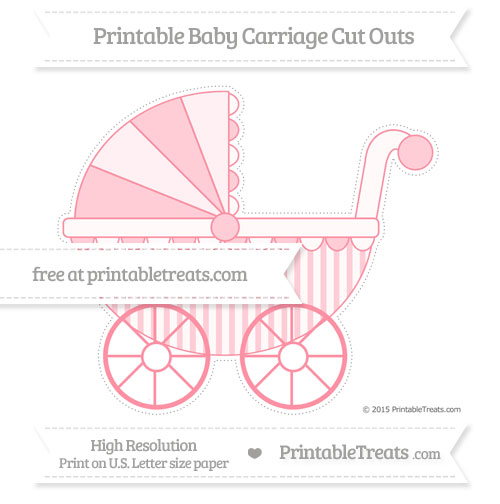 Free Salmon Pink Striped Extra Large Baby Carriage Cut Outs