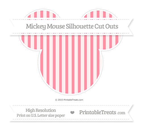Free Salmon Pink Striped Extra Large Mickey Mouse Silhouette Cut Outs