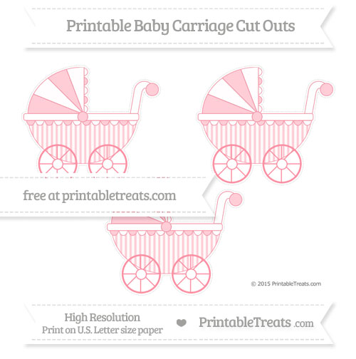 Free Salmon Pink Striped Medium Baby Carriage Cut Outs