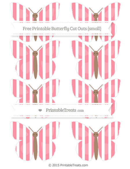 Free Salmon Pink Striped Small Butterfly Cut Outs