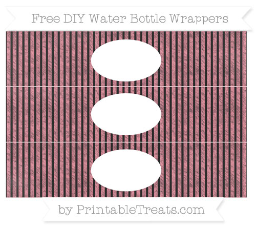 Free Salmon Pink Thin Striped Pattern Chalk Style DIY Water Bottle Wrappers