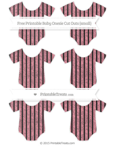 Free Salmon Pink Thin Striped Pattern Chalk Style Small Baby Onesie Cut Outs