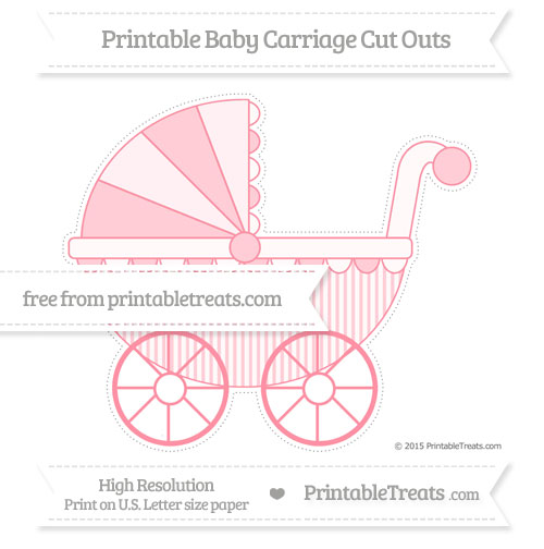Free Salmon Pink Thin Striped Pattern Extra Large Baby Carriage Cut Outs