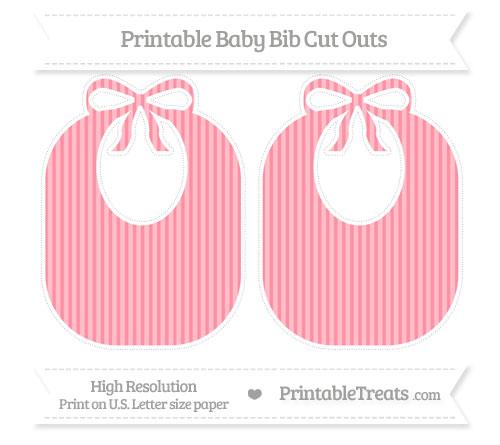 Free Salmon Pink Thin Striped Pattern Large Baby Bib Cut Outs