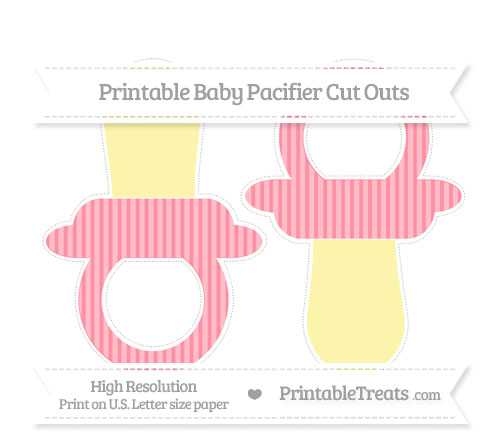 Free Salmon Pink Thin Striped Pattern Large Baby Pacifier Cut Outs