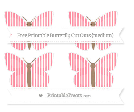 Free Salmon Pink Thin Striped Pattern Medium Butterfly Cut Outs