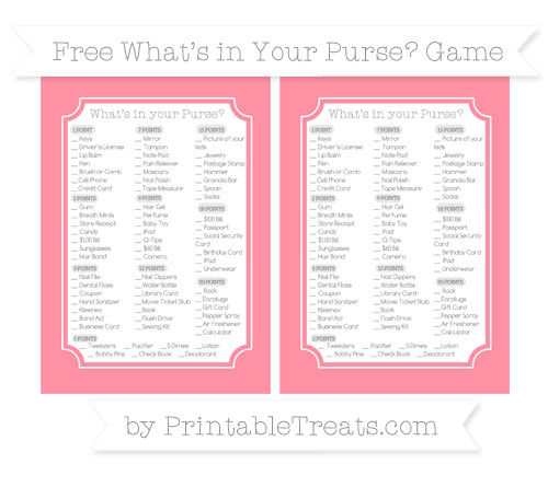 Free Salmon Pink What's in Your Purse Baby Shower Game