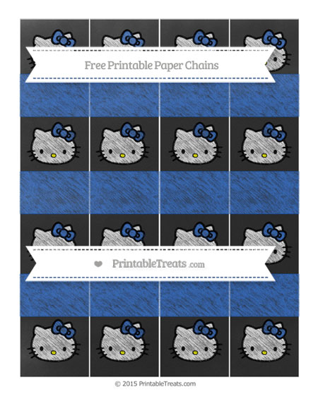 Free Sapphire Blue Chalk Style Hello Kitty Paper Chains