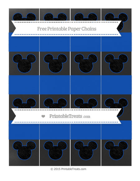 Free Sapphire Blue Chalk Style Mickey Mouse Paper Chains