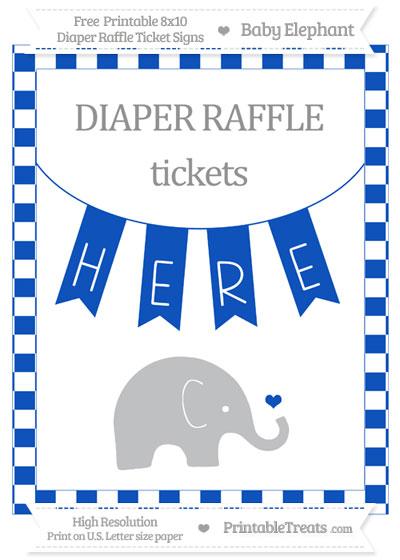 Free Sapphire Blue Checker Pattern Baby Elephant 8x10 Diaper Raffle Ticket Sign