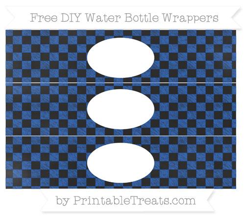 Free Sapphire Blue Checker Pattern Chalk Style DIY Water Bottle Wrappers