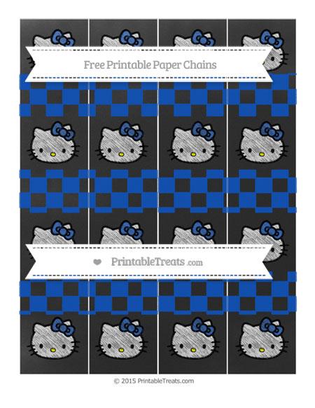 Free Sapphire Blue Checker Pattern Chalk Style Hello Kitty Paper Chains