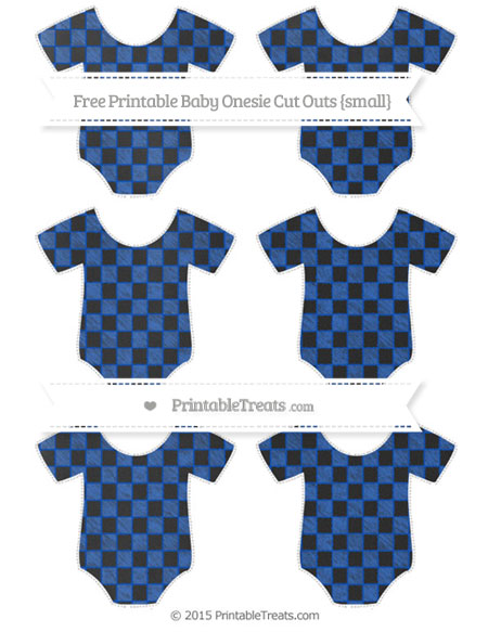 Free Sapphire Blue Checker Pattern Chalk Style Small Baby Onesie Cut Outs