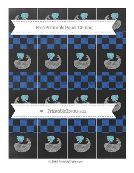 Free Sapphire Blue Checker Pattern Chalk Style Whale Paper Chains
