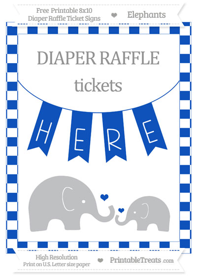 Free Sapphire Blue Checker Pattern Elephant 8x10 Diaper Raffle Ticket Sign