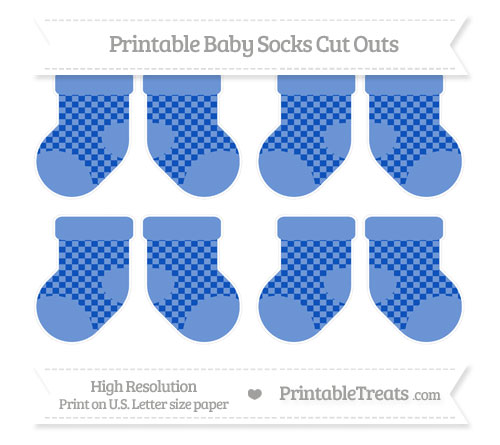 Free Sapphire Blue Checker Pattern Small Baby Socks Cut Outs