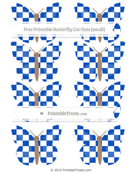 Free Sapphire Blue Checker Pattern Small Butterfly Cut Outs