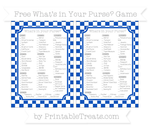 Free Sapphire Blue Checker Pattern What's in Your Purse Baby Shower Game
