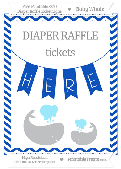 Free Sapphire Blue Chevron Baby Whale 8x10 Diaper Raffle Ticket Sign
