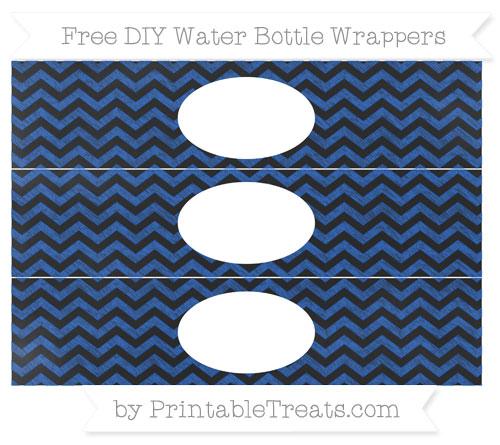 Free Sapphire Blue Chevron Chalk Style DIY Water Bottle Wrappers