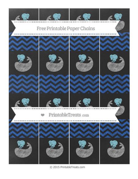 Free Sapphire Blue Chevron Chalk Style Whale Paper Chains