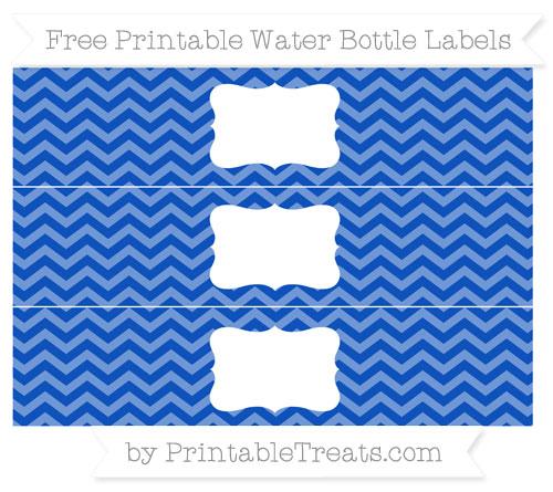 Free Sapphire Blue Chevron Water Bottle Labels