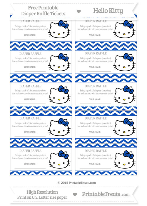 Free Sapphire Blue Chevron Hello Kitty Diaper Raffle Tickets