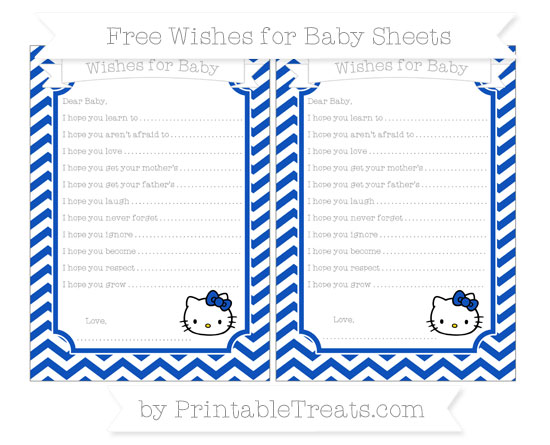 Free Sapphire Blue Chevron Hello Kitty Wishes for Baby Sheets