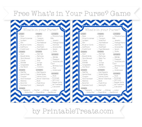 Free Sapphire Blue Chevron What's in Your Purse Baby Shower Game