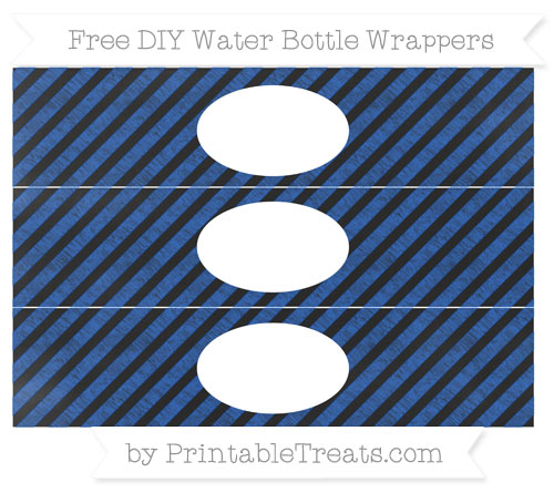 Free Sapphire Blue Diagonal Striped Chalk Style DIY Water Bottle Wrappers