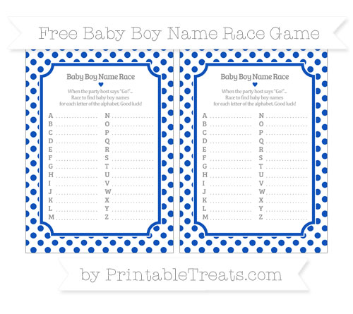 Free Sapphire Blue Dotted Pattern Baby Boy Name Race Game