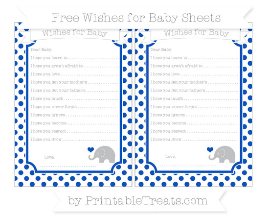 Free Sapphire Blue Dotted Pattern Baby Elephant Wishes for Baby Sheets