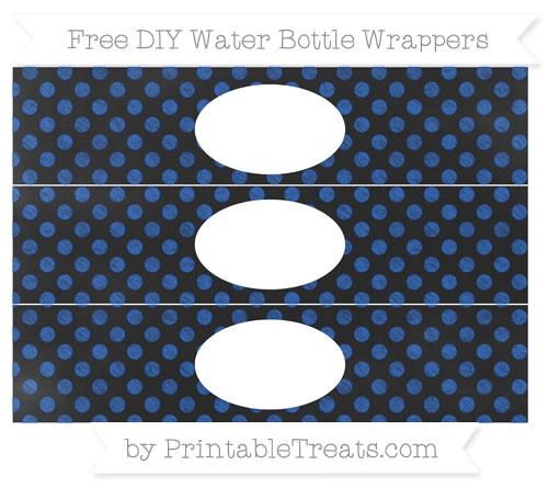 Free Sapphire Blue Dotted Pattern Chalk Style DIY Water Bottle Wrappers