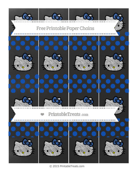 Free Sapphire Blue Dotted Pattern Chalk Style Hello Kitty Paper Chains
