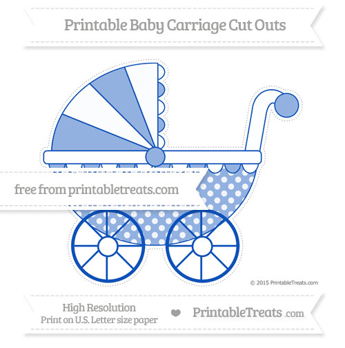 Free Sapphire Blue Dotted Pattern Extra Large Baby Carriage Cut Outs