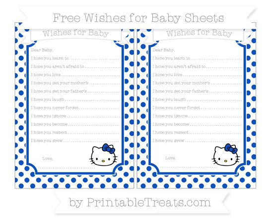 Free Sapphire Blue Dotted Pattern Hello Kitty Wishes for Baby Sheets