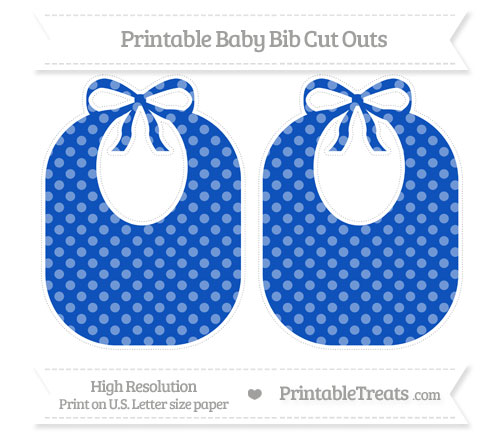 Free Sapphire Blue Dotted Pattern Large Baby Bib Cut Outs