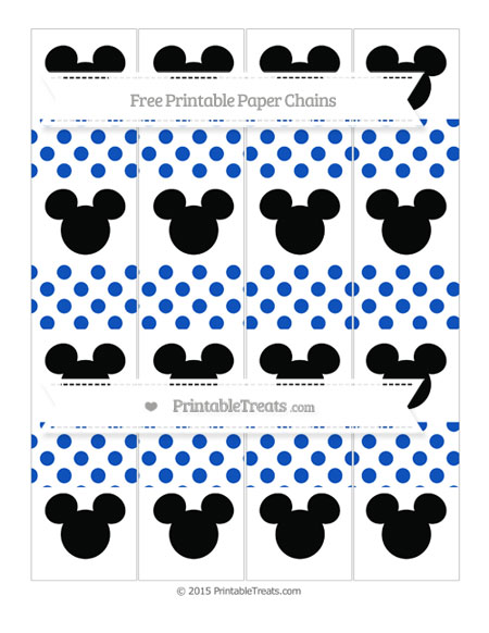 Free Sapphire Blue Dotted Pattern Mickey Mouse Paper Chains