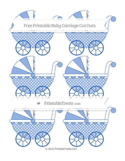 Free Sapphire Blue Dotted Pattern Small Baby Carriage Cut Outs