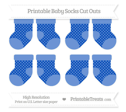 Free Sapphire Blue Dotted Pattern Small Baby Socks Cut Outs