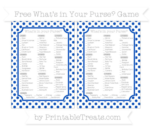 Free Sapphire Blue Dotted Pattern What's in Your Purse Baby Shower Game