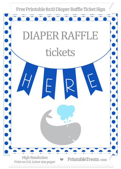 Free Sapphire Blue Dotted Whale 8x10 Diaper Raffle Ticket Sign
