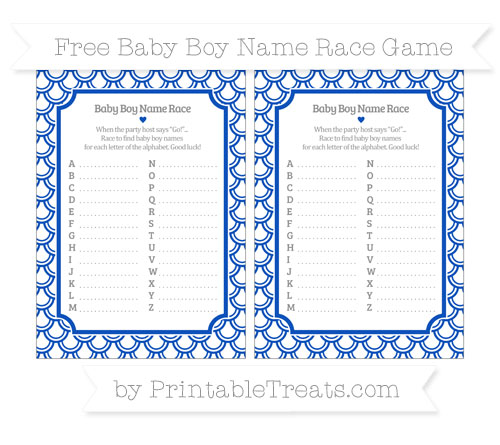 Free Sapphire Blue Fish Scale Pattern Baby Boy Name Race Game